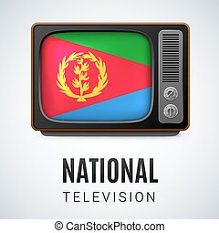 Round glossy icon of Eritrea - Vintage TV and Flag of...