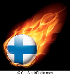 Round glossy icon of Finland