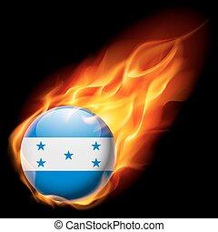 Round glossy icon of Honduras