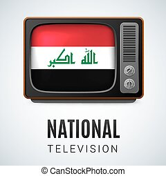 Round glossy icon of Iraq - Vintage TV and Flag of Iraq as...