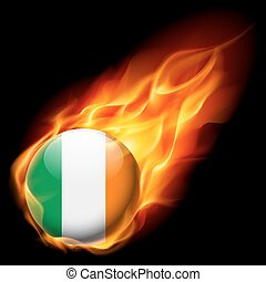 Round glossy icon of Ireland