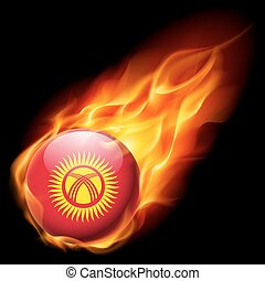 Round glossy icon of Kyrgyzstan