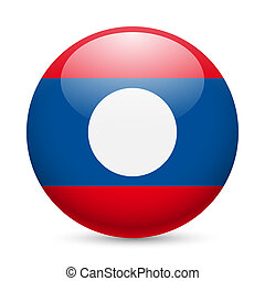 Round glossy icon of Laos - Flag of Laos as round glossy...