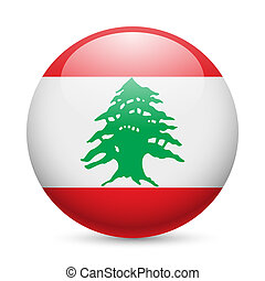 Round glossy icon of Lebanon - Flag of Lebanese Republic as...