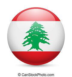 Round glossy icon of Lebanon - Flag of Lebanese Republic as...