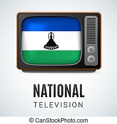Round glossy icon of Lesotho - Vintage TV and Flag of...