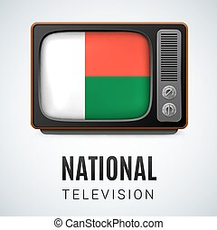 Round glossy icon of Madagascar - Vintage TV and Flag of...