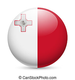 Round glossy icon of Malta - Flag of Malta as round glossy...
