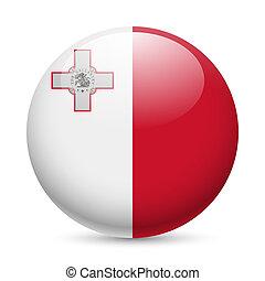 Round glossy icon of Malta - Flag of Malta as round glossy...