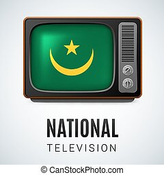 Round glossy icon of Mauritania - Vintage TV and Flag of...
