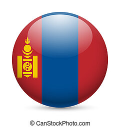 Round glossy icon of Mongolia - Flag of Mongolia as round...