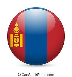 Round glossy icon of Mongolia - Flag of Mongolia as round...