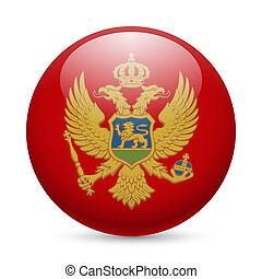 Round glossy icon of Montenegro - Flag of Montenegro as...