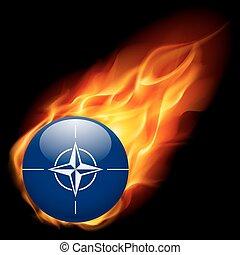 Round glossy icon of NATO - Flag of NATO as round glossy...