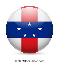 Round glossy icon of Netherlands Antilles - Flag of ...