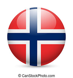Round glossy icon of Norway - Flag of Norway as round glossy...