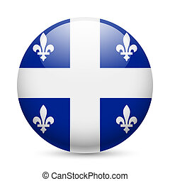 Round glossy icon of Quebec