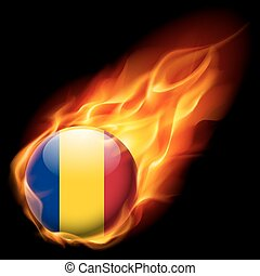 Round glossy icon of Romania
