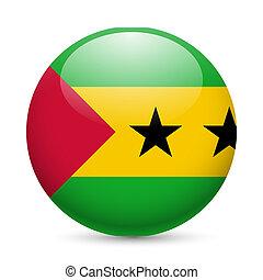 Round glossy icon of Sao Tome and Principe - Flag of Sao...