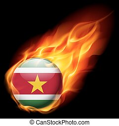 Round glossy icon of Suriname - Flag of Suriname as round...