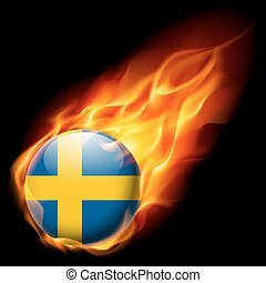 Round glossy icon of Sweden