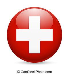 Round glossy icon of Switzerland - Flag of Switzerland as...