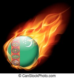 Round glossy icon of Turkmenistan