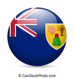 Round glossy icon of Turks and Caicos Islands - Flag of...
