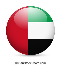 Round glossy icon of UAE - Flag of United Arab Emirates as...