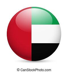 Round glossy icon of UAE - Flag of United Arab Emirates as...
