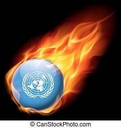 Round glossy icon of United Nations