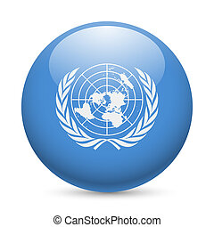 Round glossy icon of United Nations - Flag of United Nations...