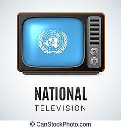 Round glossy icon of United Nations - Vintage TV and Flag of...
