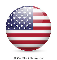 Round glossy icon of USA - Flag of USA as round glossy icon....