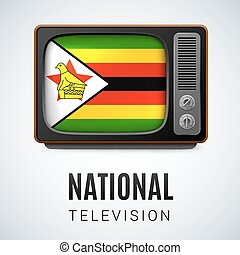 Round glossy icon of Zimbabwe - Vintage TV and Flag of ...