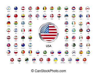 Round glossy icons with metallic border, flags of world...