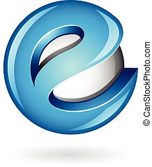 Round Glossy Letter E 3d Blue Logo Icon