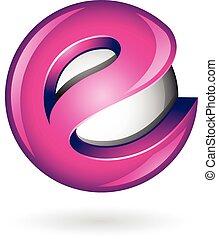 Round Glossy Letter E 3d Magenta Logo Icon