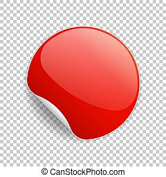 Round glossy red sticker with curled corner and shadow. Vector illustration