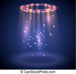 Round glow rays night scene with sparks. Empty light effect podium. Disco club dance floor. Show party lamp in fog. Ufo beam stage.