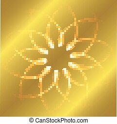 Round gold background with frame