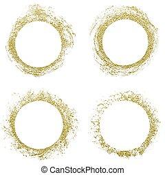 Round gold border frame.