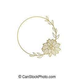 Round gold frame with flowers.Lotus. Vector illustration isolated on white background