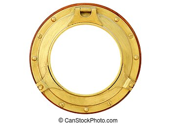 Round golden brass boat window isolated - Round golden brass...