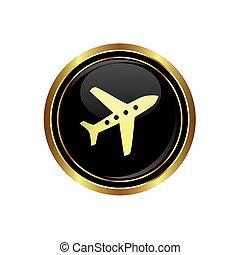 Round golden button with airplane