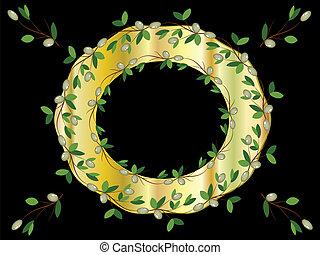 Round golden frame,vector