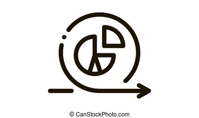 Round Graph In Center Agile Arrow Mark animated black icon on white background