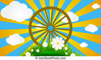 round grass with daisies and a sunny sky