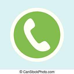 Round green Button for call with phone. Vector icon isolated on bright background.