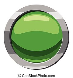 Round green button icon, cartoon style